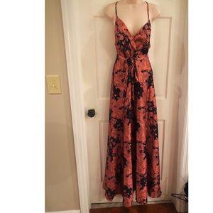 Lulu's coral & black tie waist floral maxi dress